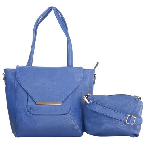 Navy Blue Plain SEC_N_27 ShamsE PU Handbag For Women
