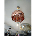 Glass And Copper Round Hanging Chandelier