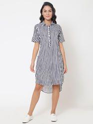 Martini Blue Stripe Cotton High-Low Shirt Dress
