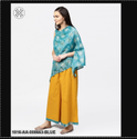 Aasi Blue Boho Poncho Style Tops With Yellow Ankle Palazzo