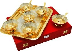 Wedding Gifts Silver and Gold Plated Bowl Set with Tray