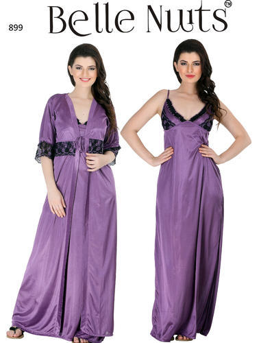 0f654b8ee0 Belle Nuits 2 Pc Satin Long Nighty With Robe In Light Falsa at Rs ...