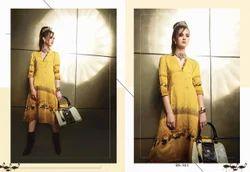 Sizzling Yellow Printed Designer Kurti