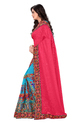 Pink  And Blue  Color Designer Pallu Half And Half Georgette Saree