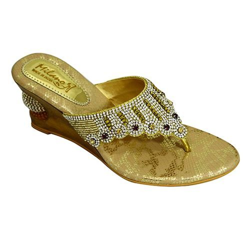 Milano Women Golden Wedge Sandals, Rs