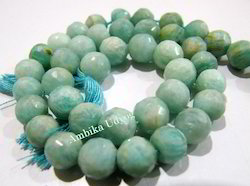 Natural Amazonite Faceted Ball Shape Beads