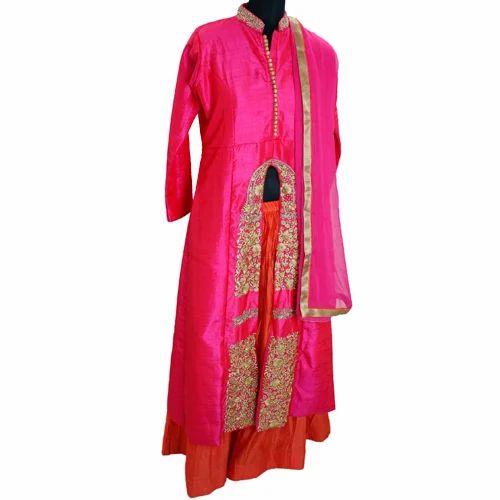 Ladies Silk Sharara Suit