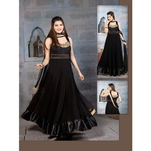 41cbc8d461 Georgette Designer Black Anarkali Suit