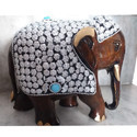 Down Trunk Stone Work Wooden Elephant