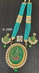 CL Jewellery Hand Painted Kundan Pendant Crystal Beads Artificial Jewellery Necklace Set Bulk Buy