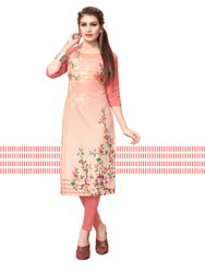 Ladies Straight 3/4th Sleeve Beige Designer Crepe Kurti, Size: S