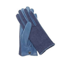 Blue Denim Leather Gloves