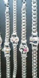 75% Party Wear Silver Bracelet Collate, 20-100 Gram, Size: 8.5 Inches