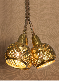 Brass Aesthetically Hand Carved Triple Cluster Hanging Light
