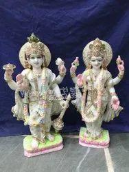 Marble Lord Vishnu & Laxmi Statue