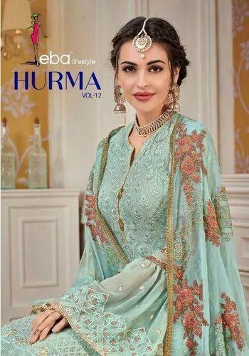 e78cc98d6c Eba Lifestyle Hurma Vol 12 Georgette Embroidery Designer Salwar Kameez