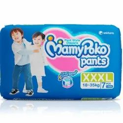 MamyPoko Cotton XXXL Mamy Poko Pants Extra Absorb Diapers, Age Group: 2-4 Years, Packaging Size: 7 Pieces