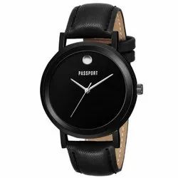 Black Leather Wrist Watch
