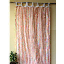 Zigzag Hand Block Print Pattern Curtain