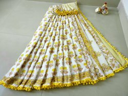 Bagru Hand Block Print Pom Pom Lace Cotton Saree