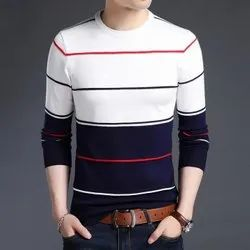 Cotton Printed Men's Full Sleeves Stripe T Shirt, Size: S to XXL