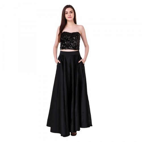 Cotton Black Long Skirt for Ladies