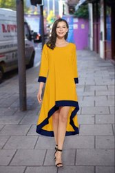 Festive Wear 3/4th Sleeves Crape Silk Western Dress, Size: Xl