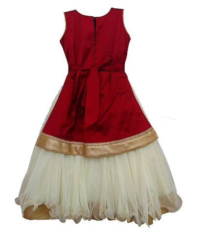 ac449e2cc917 Maroon Girls Traditional Gown With Removable Jacket