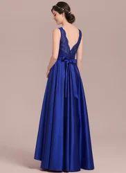 Princess V-neck Asymmetrical Satin Lace Bridesmaid Dress