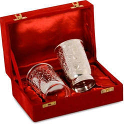 Brass Silver Glass Set Gift Box