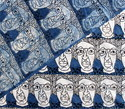 Faces Hand Block Print Indigo Blue Cotton Dabu Fabric