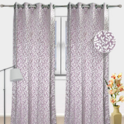 Purple Printed Velvet Curtains