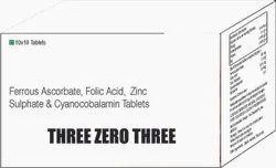 Ferrous Ascorbate, Folic Acid, Zinc Sulphate & Cyanocobalamin Tablets