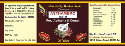Astha- Ambro Tablets- For Asthama/ Cough