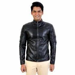 Black Biker Jacket Mens Motorcycle PU Leather Jacket