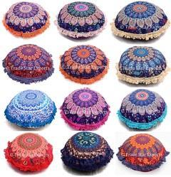Indian Round Fringe Cushion Cover