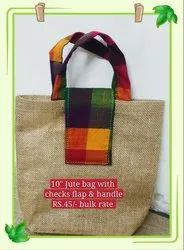 Jute Bag With Checked Thamboolam Bag