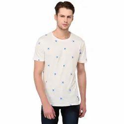 Half Sleeve Cotton White Men Printed T Shirt