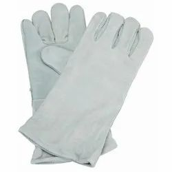 white Leather Hand Gloves, For Industrial, Size: Large