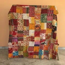 Antique Hand Stitched Kantha Patchwork Throw