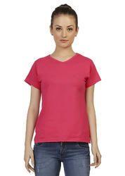 Cotton Ladies Pink V-Neck Plain T-shirt