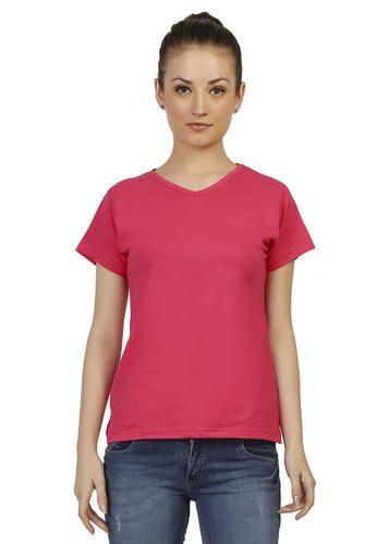 e6b3de0d5041 Cotton Ladies Pink V-Neck Plain T-shirt, Rs 195 /piece, Nihira ...