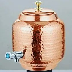 Aqua Copper Polished Copper Water tank, Capacity: 6-15 Litres, Round