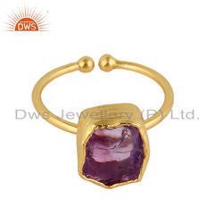 Handmade Gold Plated Silver Amethyst Gemstone Adjustable Rings