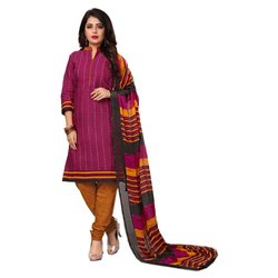 Rajnandini Magenta Cotton Printed Unstitched Dress Material