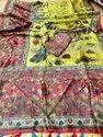 Uf Brand Yellow Tassar Digital Printed Saree, 6 M (with Blouse Piece)