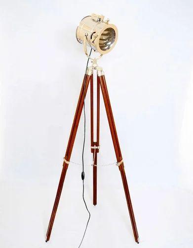 Vintage Spotlight Floor lamp with Brown  Wooden Tripod Stand Floor Spot Light