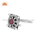 Pink Tourmaline Gemstone Ethnic Design 925 Silver Ring Jewelry Supplier