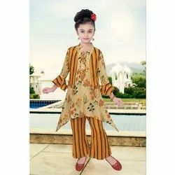 Cotton Kids Kurti and Palazzo with Jacket Set