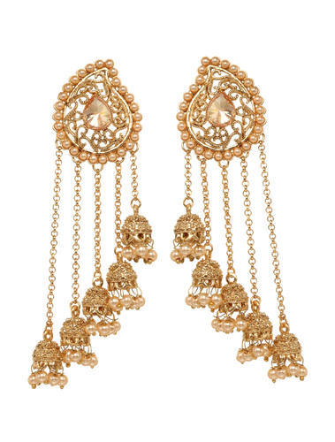 Bindhani Paisely Shape Bridal Chain Jhumka Earring Size L10cm